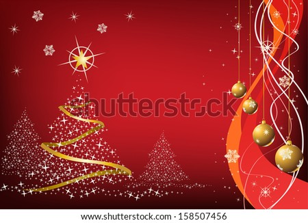illustration of a christmas element on red background