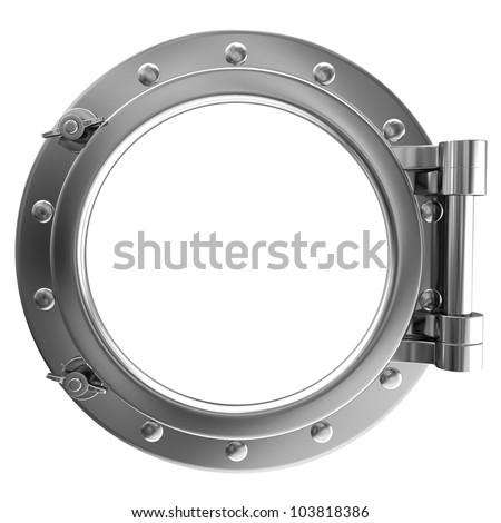 Illustration of a chrome ship porthole - stock photo