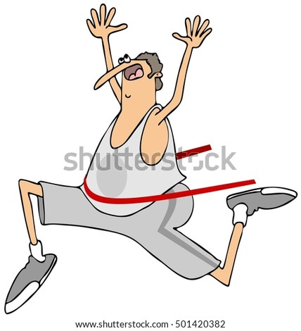 Illustration of a chubby man running past the finish line and breaking the tape.