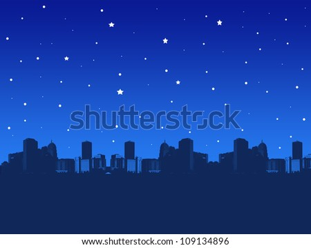 illustration of a city at night - stock photo