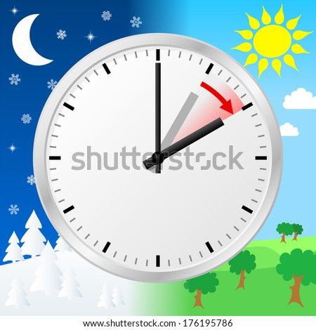illustration of a clock switch to summer time  - stock photo