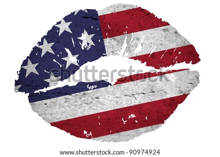 Illustration of a close view kiss with a vintage american flag texture isolated against a white background