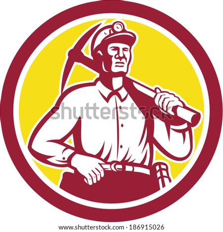 Illustration of a coal miner hardhat with crossed pick axe and spade done in retro woodcut style. - stock photo