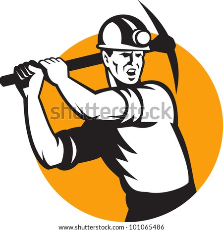 Illustration of a coal miner striking working using pick axe done in retro woodcut style set inside circle.