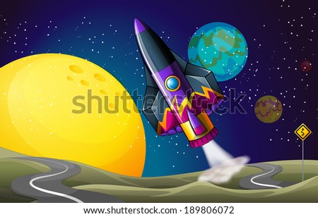 Illustration of a colorful aircraft near the moon - stock photo