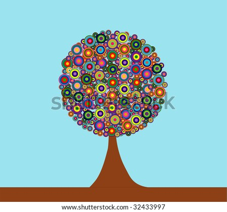 illustration of a colorful art tree