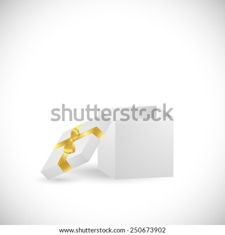 Illustration of a colorful gift box isolated on a white background. - stock photo