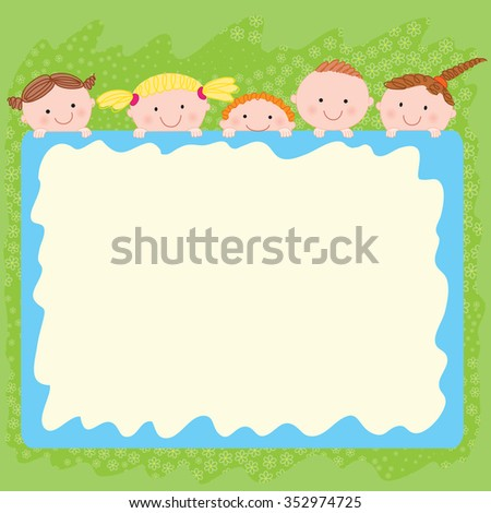 Illustration Company Peeping Kids Big Frame Stock Photo (Royalty ...