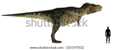 Illustration of a comparison of the size of an adult Tyrannosaurus with an average adult male human (1.8 meters) - stock photo