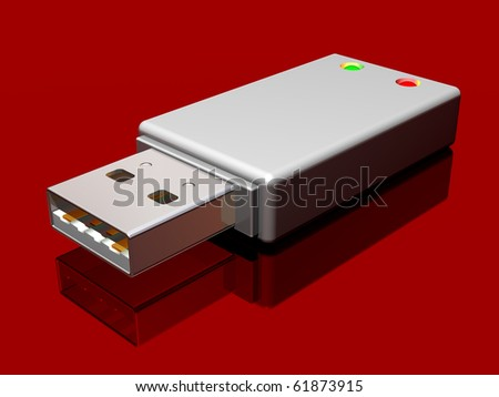 Illustration of a computer memory stick on a red background