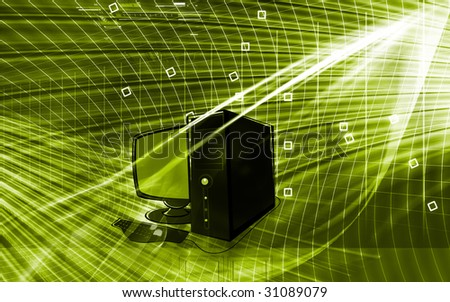 Illustration of a computer monitor and cental processing unit	 - stock photo
