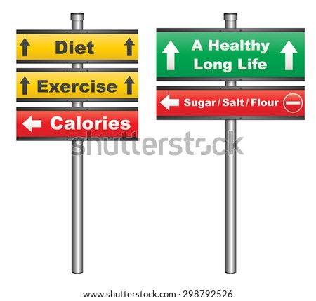 Illustration of a conceptual signboard about diet and exercise for a healthy life - stock photo