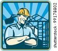 Illustration of a construction worker engineer supervisor foreman with folded arms and building frame mechanical digger in background done in retro woodcut set inside square. - stock vector
