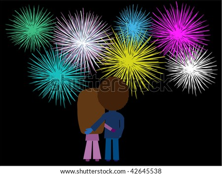 illustration of a couple watching a fireworks display - stock photo