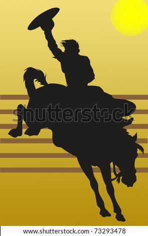 Illustration of a cowboy riding his horse - stock photo