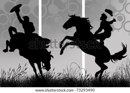 Illustration of a cowboy riding his horse