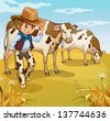 Illustration of a cowboy with two cows eating - stock vector