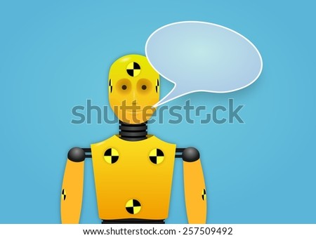 Illustration of a crash test dummy with speech bubble - stock photo