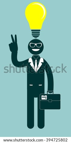 Illustration of a creative successful young cartoon businessman pointing at light bulb as a symbol of having an idea. Stock Vector illustration - stock photo