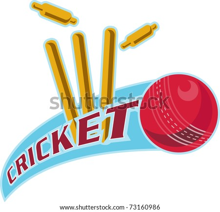 "illustration of a cricket ball hitting bowling over wicket with words ""cricket"" - stock photo"
