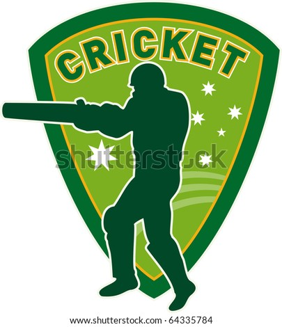 illustration of a cricket sports player batsman silhouette batting set inside shield with stars of australia flag and australian green and gold color - stock photo