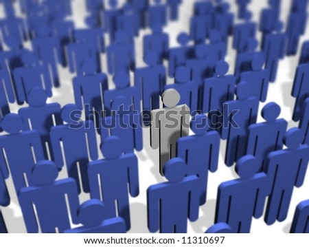 Illustration of a crowd of people All colored blue apart from one - stock photo