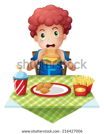 Illustration of a curly-haired boy eating at a fastfood restaurant on a white background - stock photo