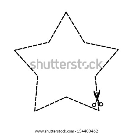 Illustration of a cut out coupon star shape with scissors