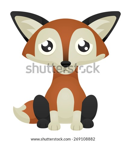 Illustration of a cute cartoon fox sitting with a sad expression. Raster. - stock photo
