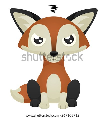 Illustration of a cute cartoon fox sitting with an angry expression. Raster. - stock photo