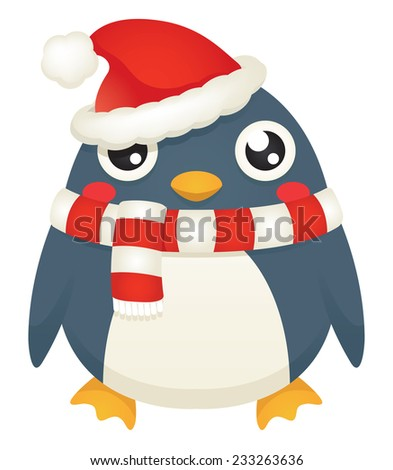 Illustration of a cute cartoon penguin wearing a santa hat and candy striped scarf. Raster. - stock photo