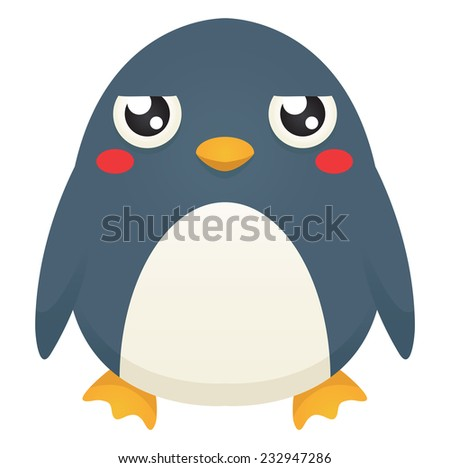 Illustration of a cute cartoon penguin with an unimpressed expression. Raster. - stock photo