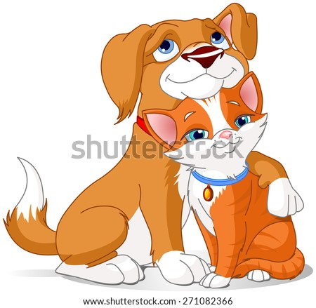 Illustration of a Cute Dog hugging a Cat  - stock photo