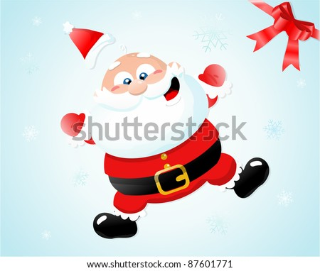 Illustration of a cute happy santa claus raster
