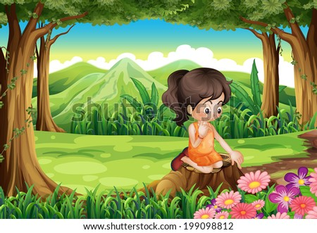 Illustration of a cute little girl watching the flowers at the forest - stock photo