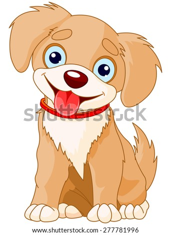 Illustration of a cute puppy wearing a red collar - stock photo