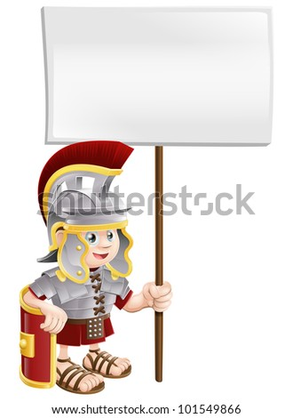Illustration of a cute Roman soldier holding a sign board