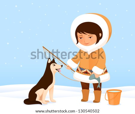illustration of a cute small Inuit girl and her dog - stock photo