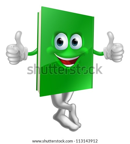 Illustration of a cute smiling thumbs up green book character - stock photo