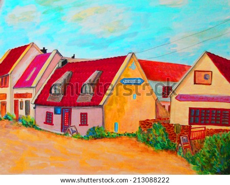 illustration of a cute street in the suburbs with  colorful  summer houses and road. - stock photo