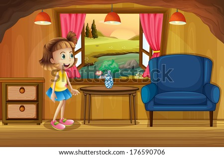 Illustration of a cute young girl in a tree house - stock photo