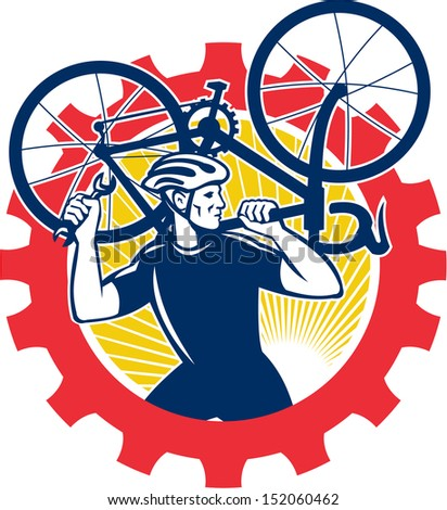 Illustration of a cyclist bicycle mechanic carrying racing bike on shoulder holding spanner wrench looking to side set inside cog mechanical gear sprocket done in retro style. - stock photo