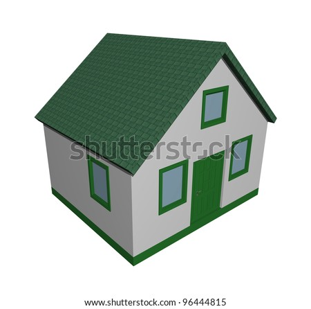 Illustration of a 3D green house - stock photo