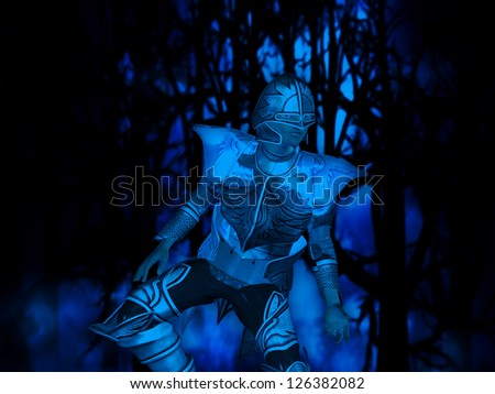 Illustration of a 3d knight in the dark haunted forest. - stock photo