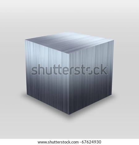 Illustration of a 3D stainless steel metallic cube isolated over a silver background. - stock photo