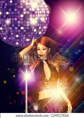 Illustration of a dancing girl with retro microphone and disco ball.