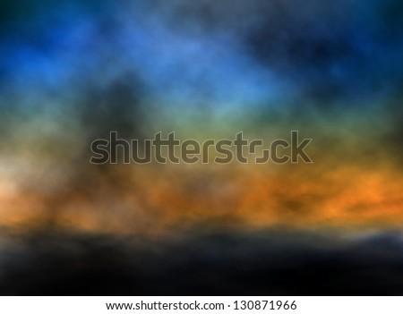 Illustration of a dark sunset sky - stock photo