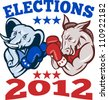 Illustration of a democrat donkey mascot of the democratic grand old party gop and republican elephant boxer boxing with gloves set inside circle done in retro style with words elections 2012 - stock vector