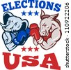 Illustration of a democrat donkey mascot of the democratic grand old party gop and republican elephant boxer boxing with gloves set inside circle done in retro style with words elections usa - stock photo