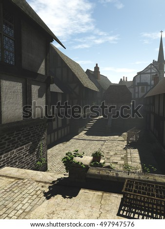 Illustration of a deserted European Medieval street in the early morning mist with shadows, digital illustration (3d rendering)